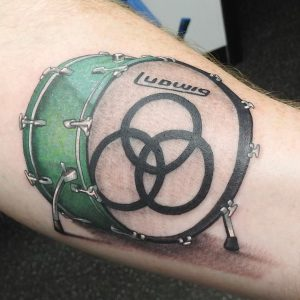 Bass Drum tattoo-Dana- Receptionist- Collective Studios Ink