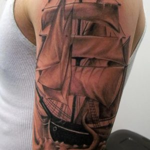 Sail Boat sleeve tattoo-Dana- Receptionist- Collective Studios Ink