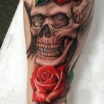 Skull and rose tattoo sleeve-Larry Farley Tattoo artist logo